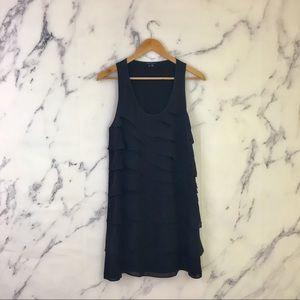 Theory Dorosa Captivate Ruffled Black Silk Dress